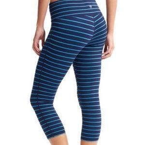 Athleta blue striped cropped leggings